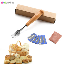 Stainless Steel Bread Cutters Baking Tools For Cakes Wooden Handle Bread Repairing Knife With 5pc Replacement Blade Baking Knife bread baking