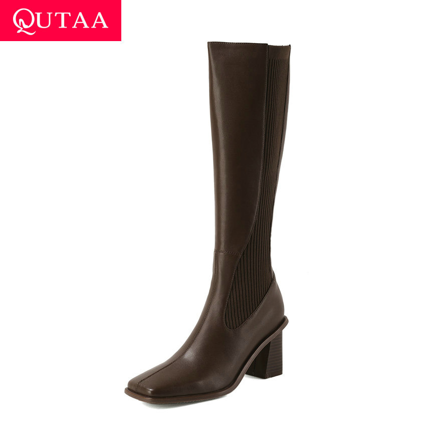 QUTAA 2021 PU Leather Knitting Knee High Boots Retro Square Toe Zipper Women Shoes Square High Heel Fashion Long Boots Size34-39