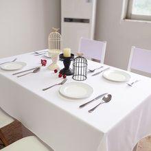 Personalizado branco algodão poliéster toalha de mesa oversized casa capa de mesa atacado banquete de casamento ao ar livre banquete hotel decora