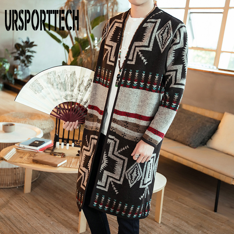 2020 Autumn Winter Printing Long Trench Coat Men Slim Fit Casual Printed Jackets And Coats Stand Collar Cardigan Trench Coat Men