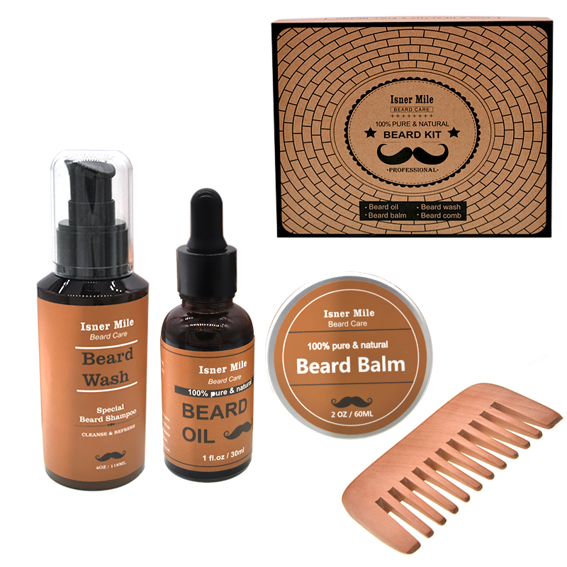 Купить с кэшбэком ISNER MILE 4pcs/set Beard Grooming kit Beard Oil Moisturizing Wax Smooth styling Blam Moustache Oil Beard Wash Beard Care kit