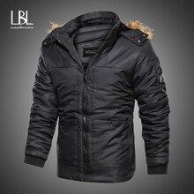 Men Winter Faux Fur Collar Long Parkas Thick Cotton Fleece