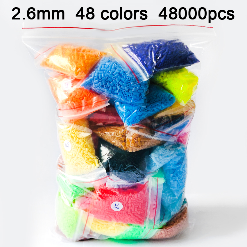 DOLLRYGA 48000pcs/bag 2.6mm Mini Hama Beads Kids Rainbow Perler Toy Available 100%quality Guarantee Diy Toy Activity Fuse Beads