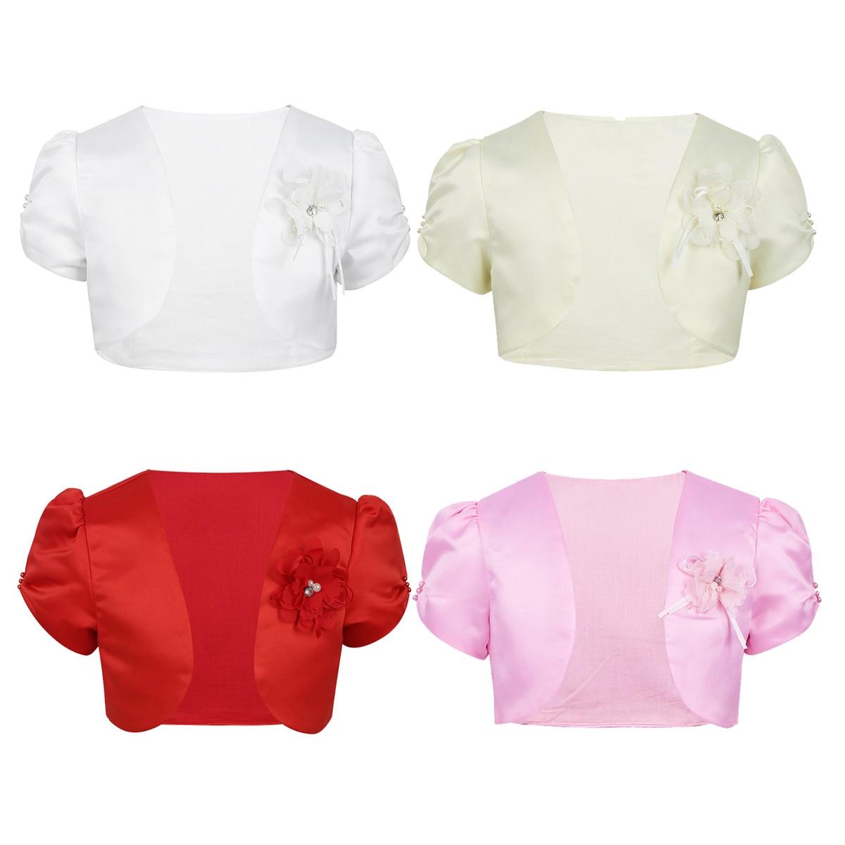 TiaoBug Baby Girls Satin 3D Flower Bolero Cardigan Lace Pearls Wedding Dress Cover