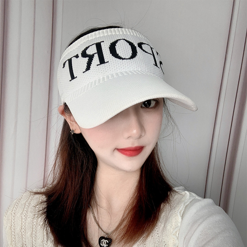 New Summer Sport Letter Hat For Lady Solid Color Knit Elastic Cap Outdoor Leisure Empty Top Sun UV Protection Adjustable Visor