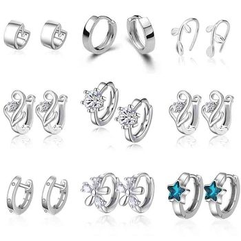 XIYANIKE 925 Sterling Silver Prevent Allergy Small Stud Earring For Women Wedding Couple Trendy Geometric Handmade Paety Jewelry