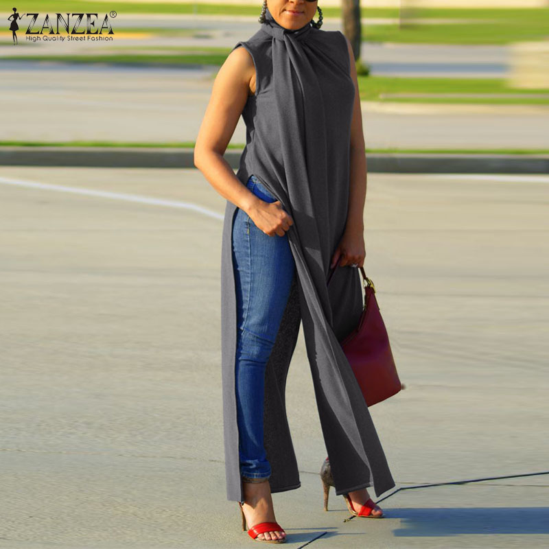 Women Fashion High Split Shirt ZANZEA Summer Sleeveless Blouse Bow Tie Tops Elegant Ladies Work Blusas Casual Loose Long  Top