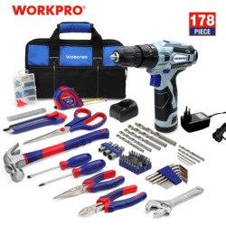 WORKPRO, kit de herramientas para el hogar de 178 piezas, con Taladro Inalámbrico de 12V, destornillador eléctrico, controlador de potencia inalámbrico, batería de iones de litio CC