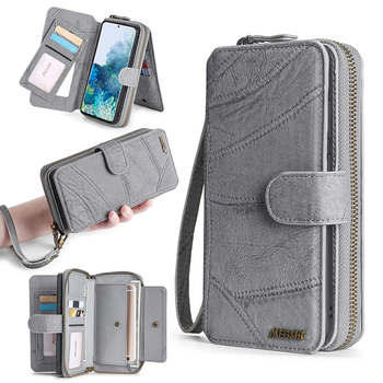 MEGSHI-SanDai Multi function Wallet Phone Case for Samsung Galaxy M21 S9 S10 S20 5G A50 A51 A70 A71 retro zipper magnetic pocket