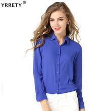 YRRETY 1PC Women Chiffon Blouse Long Sleeve Shirt Tops Office Lady Blusas Femininas Camisas Mujer White Black Red Yellow