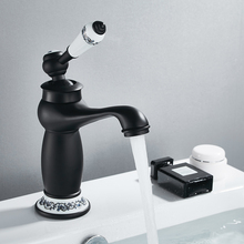Роскошный смеситель для ванны в европейском ретро стиле с одной ручкой, черный хром для холодной и горячей воды, смеситель для раковины