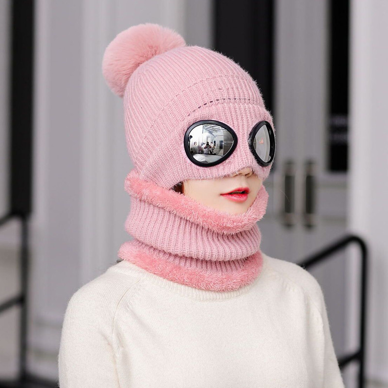 Free Shipping Women Knitted Wool Scarf And Beanie Hat Pom Cap Set Warm Winter Scarf