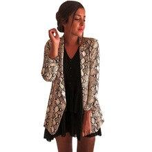 Women Plus Size Snake Print Long Sleeve Suit Coat Biker Jacket Outwear Tops Y101