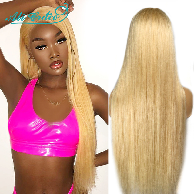 613 Lace Front Wig Human Hair Brazilian Straight Pre Plucked Lace Front Human Hair Wigs Ali Grace Honey Blonde 613 Frontal Wigs