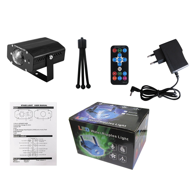 Rgb Led Water Wave Stage Light Remote Control Stage Lights Ripple Display Projector Lamps For Party(Eu Plug)