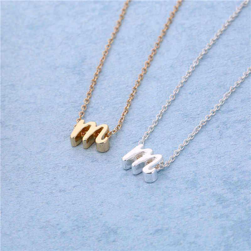 Huruf Alfabet Kalung untuk Wanita 8 Mm Kecil Huruf Kecil Awal Nama Kalung Pesona Perhiasan Rantai Surat Cinta Hadiah Dropshipping