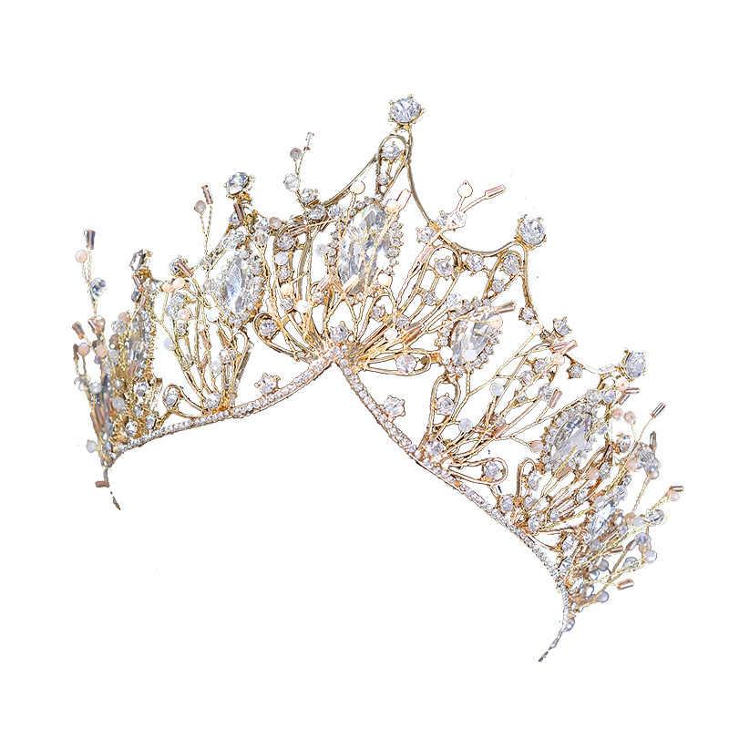 Gold Crown Tiara Accessori Per Capelli Da Sposa Decorazione di Testa Da Sposa Gioielli Della Sposa Della Principessa Crown Ragazze Tiara Di Natale Fidanzata