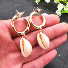 JCYMONG 13 Style Sea Shell Earrings For Women Gold Silver Color Metal Shell Cowrie Statement Earrings 2019 Summer Beach Jewelry(China)