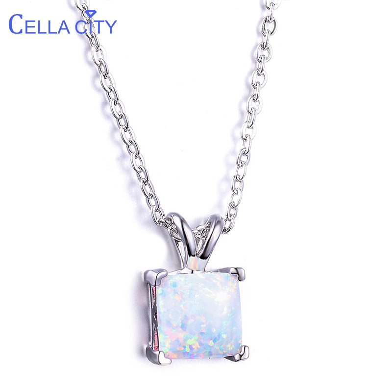 Cellacity Square Opal Pendant Necklace for Women Silver 925 Jewelry with Gemstones Simple Design Female Neck ornament Wholesale