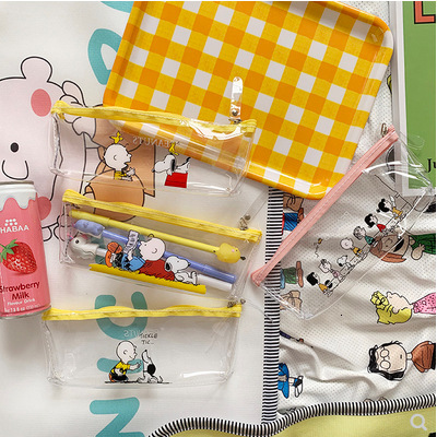 Snoopy Series Bright Yellow And Transparent Pencil Case Pencil Bag Kawaii Stationery Lovely Cartoon Waterproof Cosmetic Bag