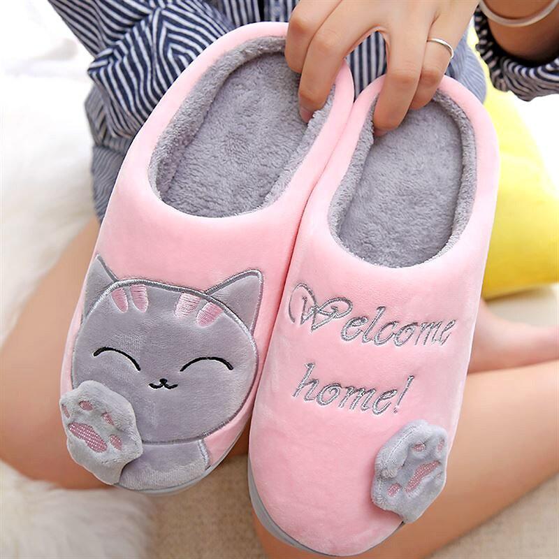 Zapatillas de mujer 3D bordado gato invierno cálido felpa zapatos mujer casa zapatillas interior/exterior casa piel parejas amantes forma de memoria