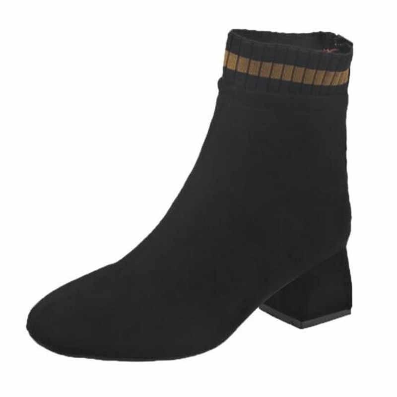 Faux Suede รองเท้าผู้หญิง Chunky รองเท้าส้นสูง Plush รองเท้าผู้หญิง Chic รองเท้าสีน้ำตาลช็อกโกแลต Boot Plus ขนาด 34- 43