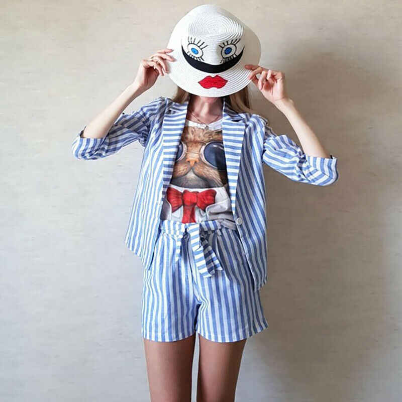 Blue Striped Notched Neck Elegant Blazer Belted Shorts Suit Set Women Outfits 2019 Autumn Streetwear Office Lady Two Piece Sets