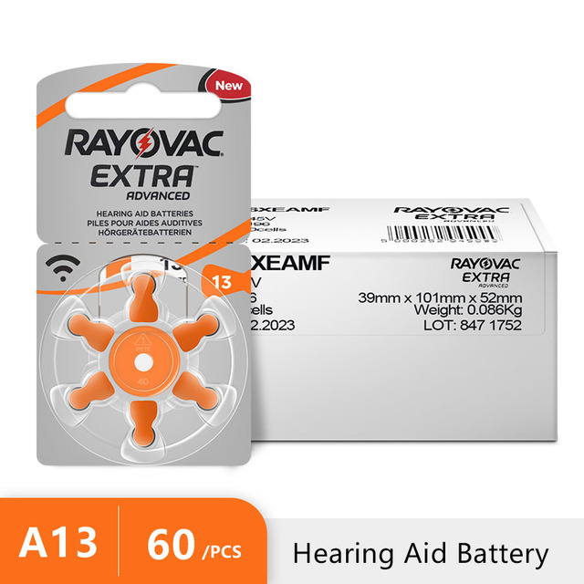 60 x Zinc Air Rayovac Extra Alto batería para audífonos de rendimiento, 13 baterías para audífonos A13 PR48, ¡envío gratis!