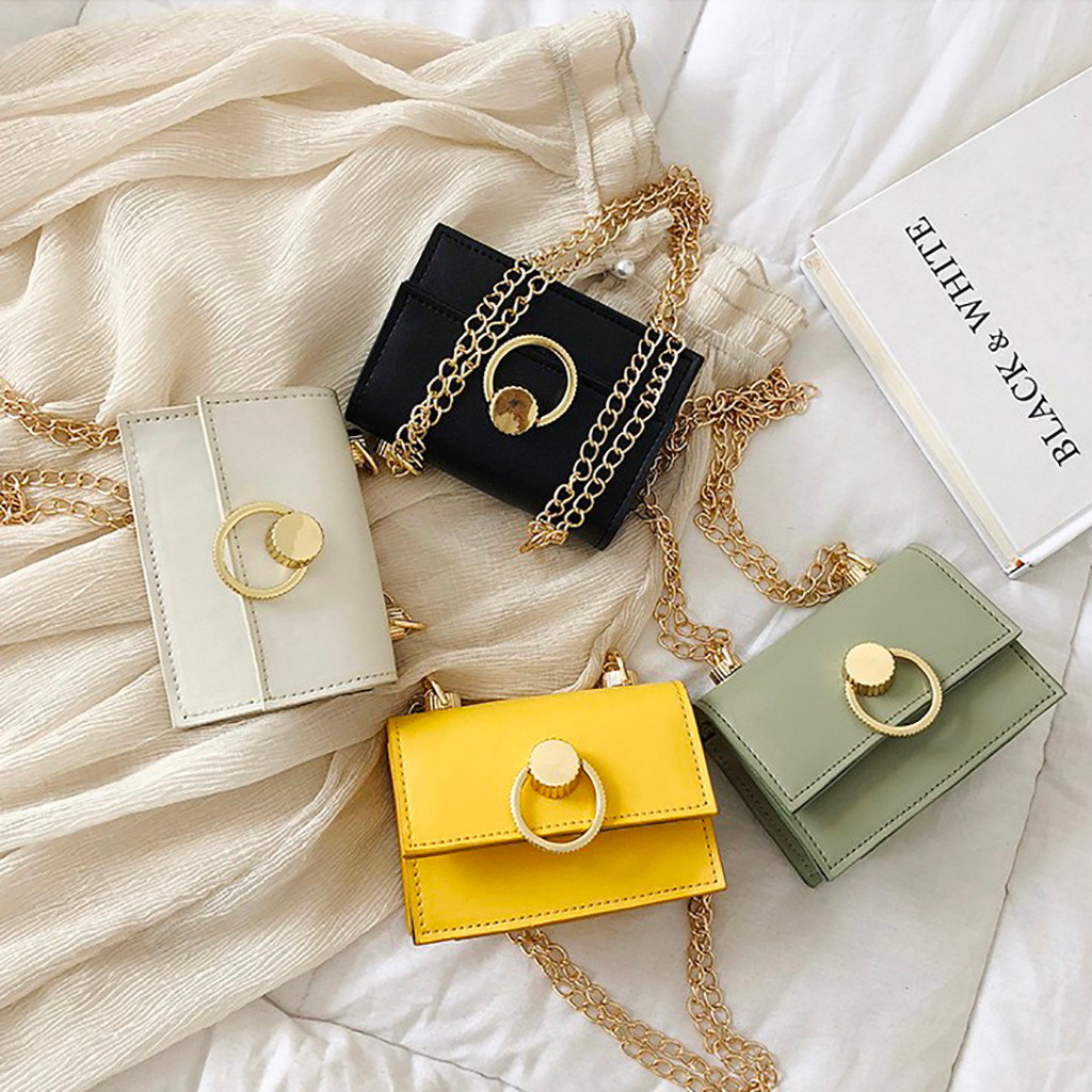 Women's Fashion Retro Ring Chain Magnetic Buckle Shoulder Bag Messenger Bag Solid Color Ring Chain Portable Summer Clutch