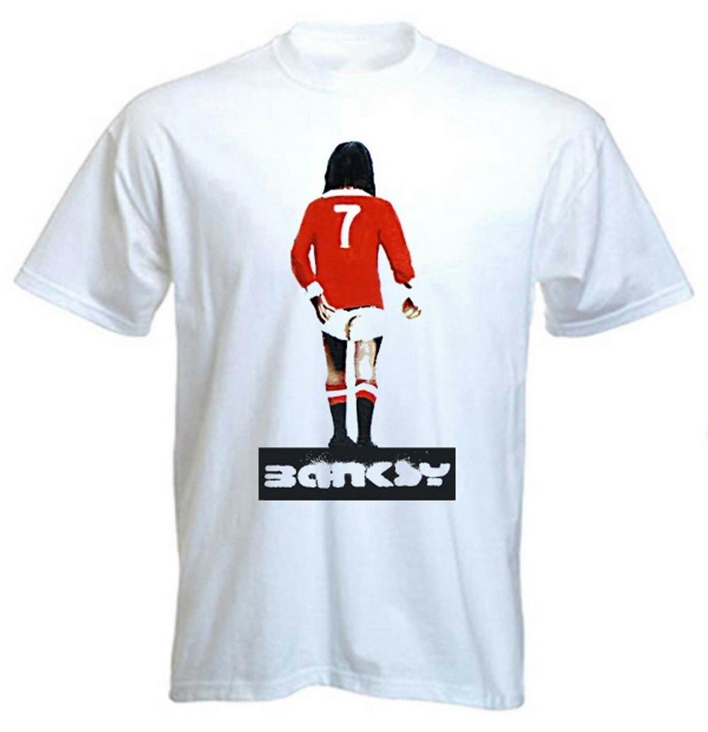 Banksy George Best T-Shirt - Man United MUFC Urban Art - Sizes S-XXXL Cotton Summer Style Tops Tee Shirt image