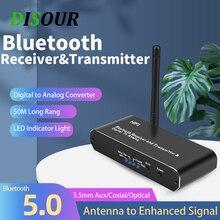 Dissso dac bluetooth 5.0 transmissor receptor de áudio digital para conversor de áudio analógico aux coaxial adaptador sem fio de fibra óptica