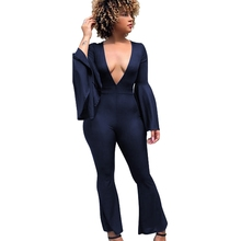 LOOZYKIT Women Autumn Flare Sleeve Jumpsuit V-Neck Skinny Bodysuit Casual Wide Leg Jumpsuits Sexy Club Rompers Vintage Playsuits levis 721 vintage high rise skinny