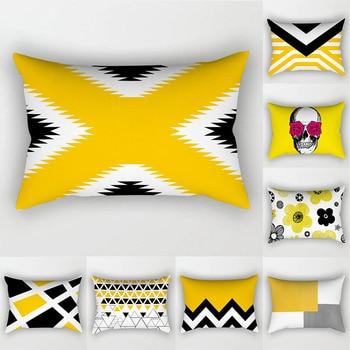 Yellow Geometry Cushion Cover 30x50 Pillowcase Flower printed Sofa Cushions Decorative Throw Pillow Home Decor Pillowcover new cartoon dinosaur decorative pillow cushion covers pillowcase cushions for sofa polyester pillowcover cuscini decorativi