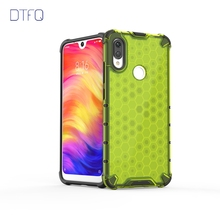 DTFQ Transparent Cellular Hybrid Armor Case for Xiaomi Redmi Note 7 Honeycomb Hard Plastic + Soft TPU Rugged Cover