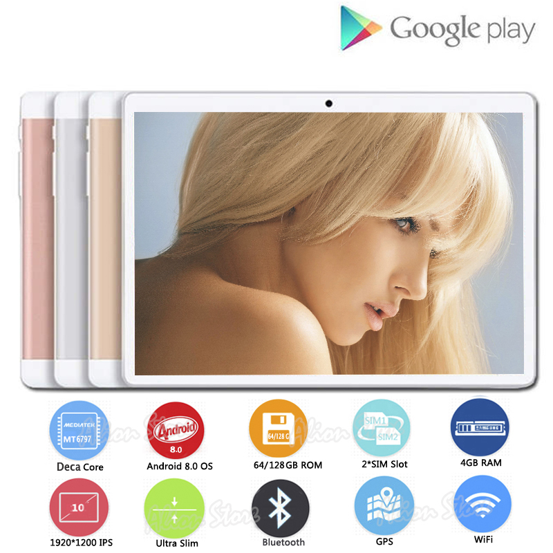 4G LTE Tablets Sim-Cards Android Deca-Core Dual 1920--1200 128GB HD IPS 4GB-ROM Gifs