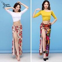 2 Pcs/ Set New Belly Dance Costumes Dancing Practice Clothes Sexy Half Sleeve Modal Split Skirt Dress Women