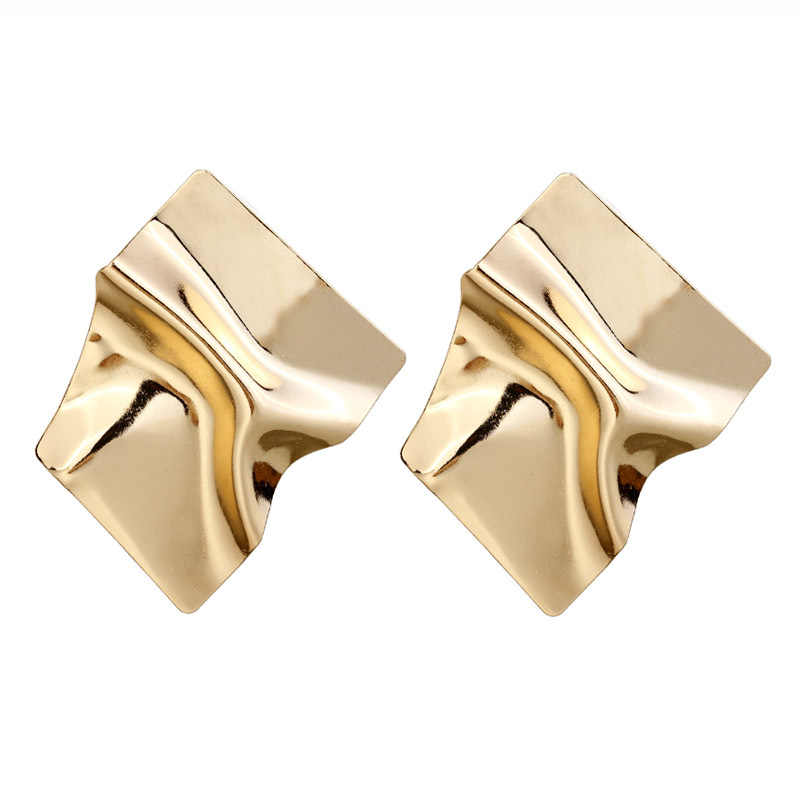 2019 New Unique Metal Drop Earrings Trendy Gold Color Round Statement Earrings for Women New Arrival wing Fashion Jewelry