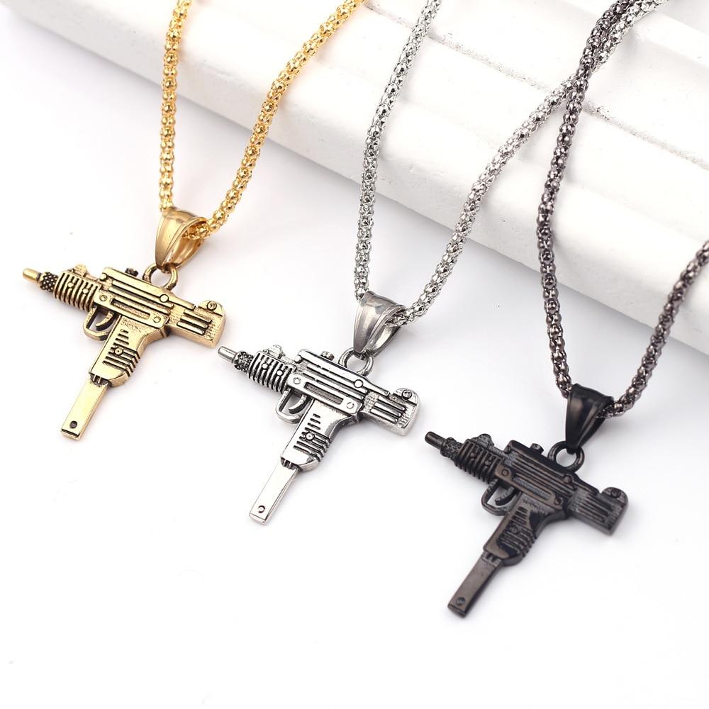 Cool Gothic Hip Hop UZI Kolye GUN Shape Pendant Necklace Silver/Gold/Black Color Army Style Male Chain Men Necklaces Jewelry