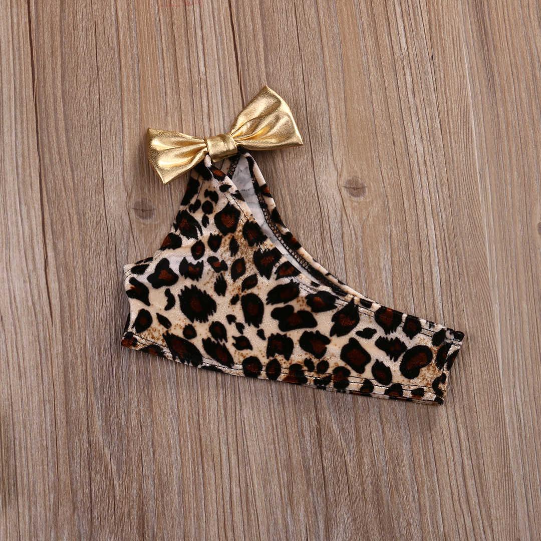 Baru 3 Pcs Anak-anak Leopard Busur Bayi Pakaian Set Musim Panas Bayi Gadis Bikini Set Baru Lahir Pakaian Renang Baju Renang Baju Renang