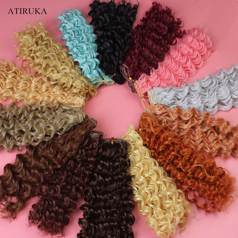 20*100CM Screw Curly Hair Accessories for Dolls <font><b>BJD</b></font> Doll <font><b>Wig</b></font> High-Temperature Material Resistant Fiber Hair Wefts Hair <font><b>Wig</b></font> image
