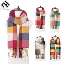 Evrfelan бренд роскошный женский шарф Классический плед Зимний шарф шали прямоугольник длинный размер зимние шарфы Дамская шаль с кисточками bufand