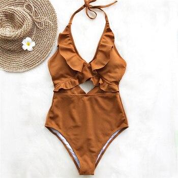Ruffle Swimsuit Women Backless Swimwear One Piece Padded Bathing Suit Ladies Beachwear Monokini Maillot