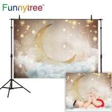 Funnytree Baby Shower Newborn Photophone Photography Backdrop Golden Glitter Moon Stars Cloud Background Photocall Photo Studio