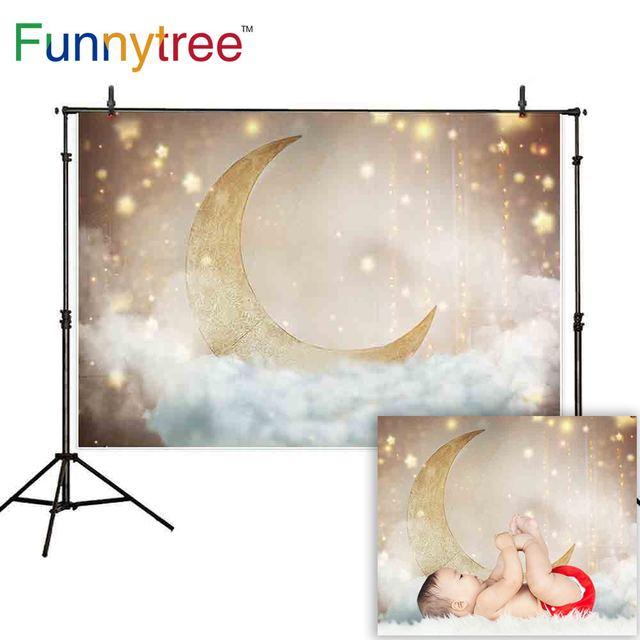 Funnytree תינוק מקלחת יילוד Photophone צילום רקע זהב גליטר ירח כוכבים ענן רקע שיחת וידאו צילום סטודיו