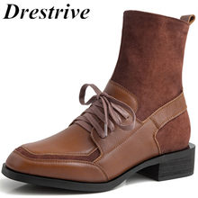 Drestrive Women Ankle Boots Genuine Leather Zipper Non Slip Ladies Winter Shoes Lace Up Low Heel Cow Leather Autumn Size 42(China)