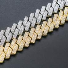 Iced Out kubański naszyjnik łańcuch 14mm Hip Hop mężczyzn biżuteria Choker złoty kolor srebrny CZ dla raper Charms naszyjniki prezenty