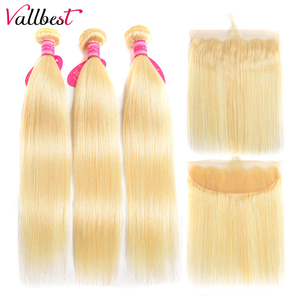 Vallbest 613 Bundles With Frontal Brazilian Straight Hair 3 Bundles With Closure Remy Blonde Human Hair Bundles With Frontal(China)