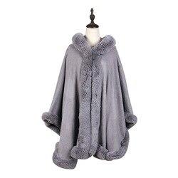 Europa e gli stati Uniti autunno e inverno nuovo grande formato imitazione scialle di pelliccia di volpe imitazione di lepre mantello di pelliccia mantello cappotto donna