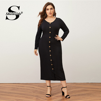 Sheinside Plus Size Deep V Neck Pencil Dress Women 2019 Autumn Lantern Sleeve Solid Midi Dresses Ladies Burgundy Belted Dress