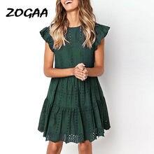 ZOGAA Hollow Out Ruched-line mini sukienka kobieta marszczony rękaw sukienka plażowa kobieta podstawowe sukienki z okrągłym dekoltem letnia sukienka vestidos
